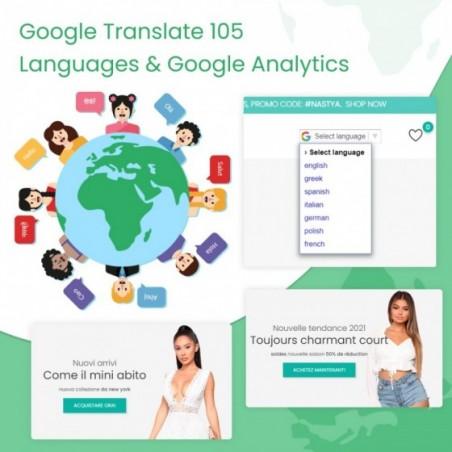 Google Translate 105 Languages & Google Analytics Prestashop Module