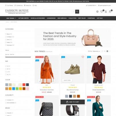 Fashion House - Clothes & Shoes, Bags Prestashop Theme