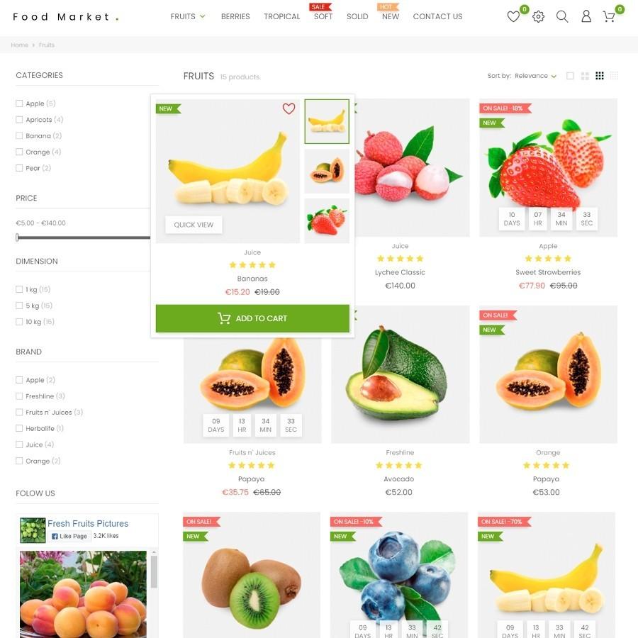 Fruit Basket - Food and Restaurant Prestashop Theme