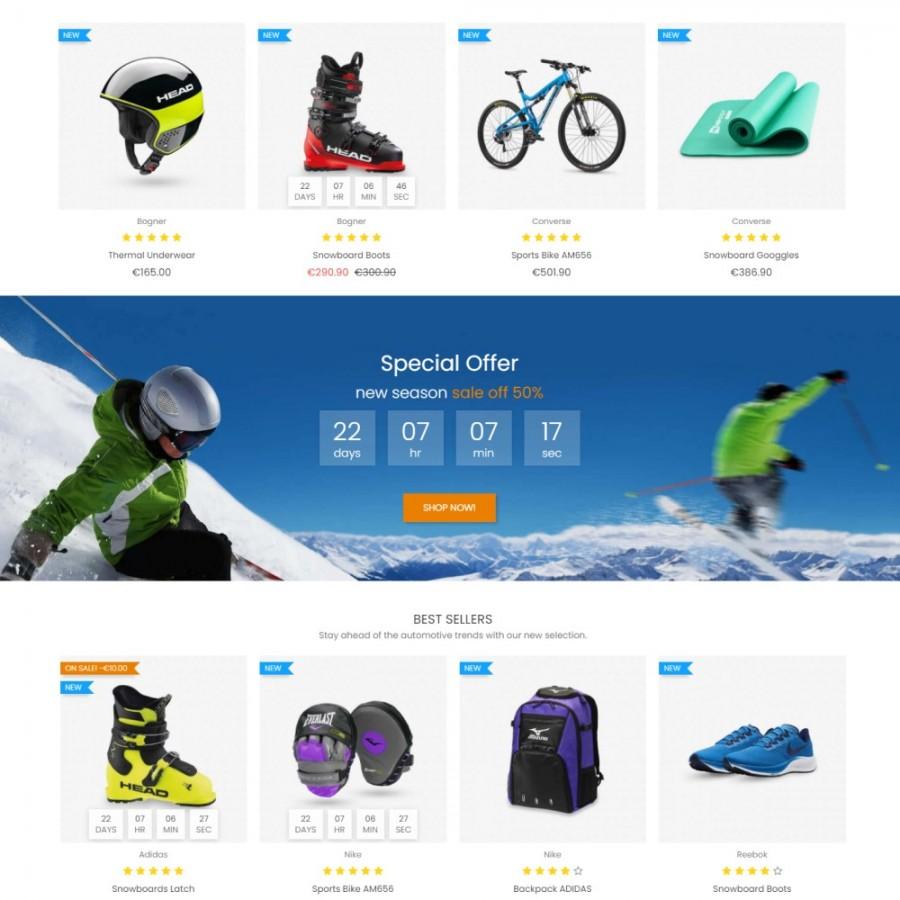 Extreme - Sports Apparel & Accessories Prestashop Template