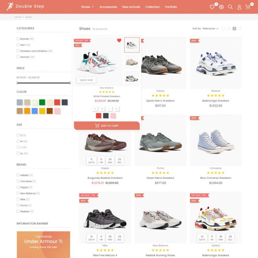 Double Step - Fashion & Shoes, Sport Clothes Prestashop Theme