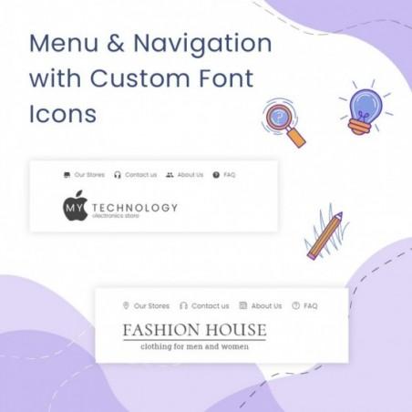 Menu & Navigation with Custom Font Icons Prestashop Module