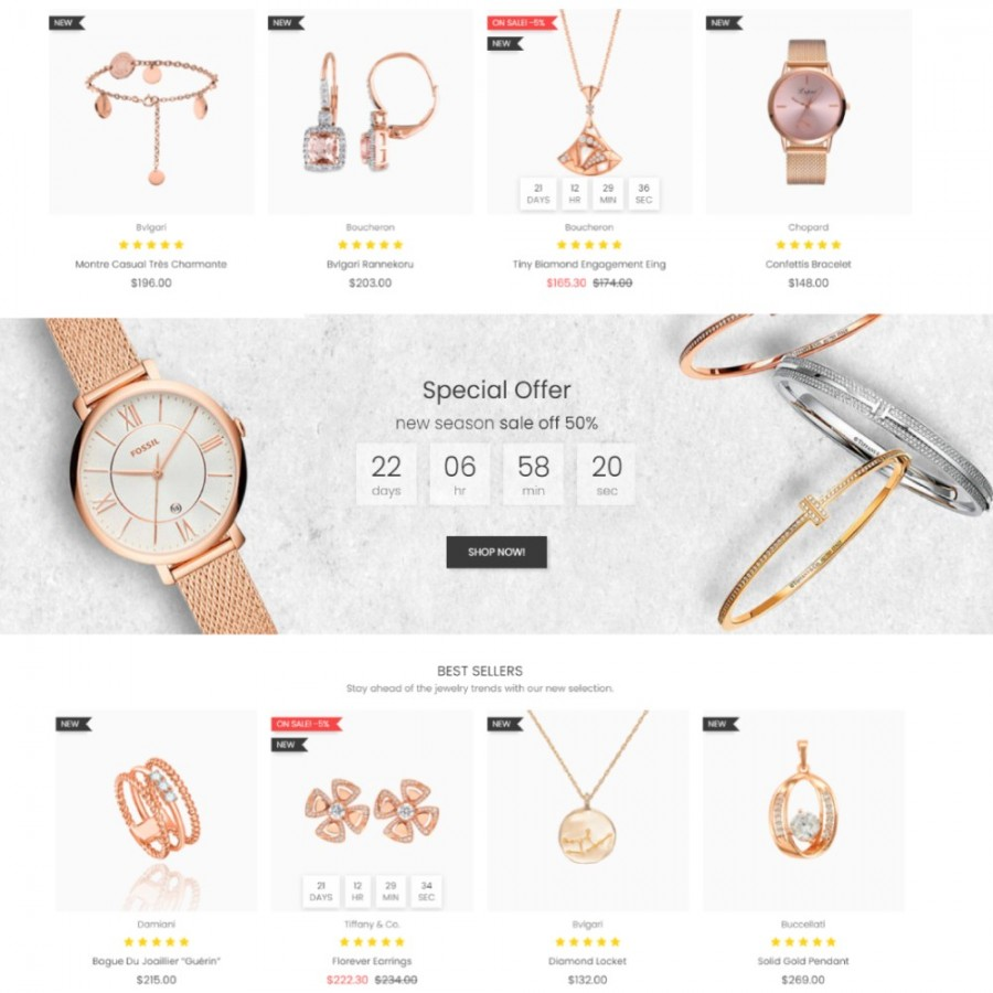 Floral Gemstones - Jewelry & Accessories, Watches Store Prestashop Theme