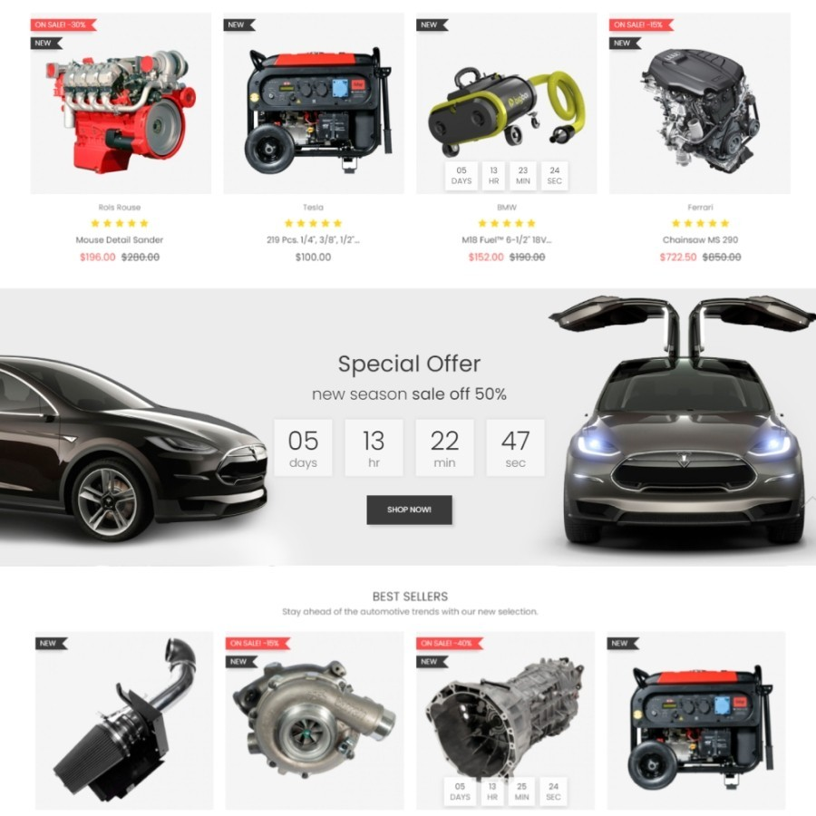 Smarty Tools - Auto Parts & Car Engines Prestashop Theme