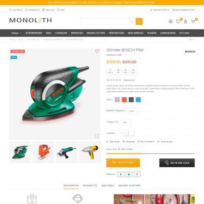 Monolith - Car & Tools Prestashop Theme