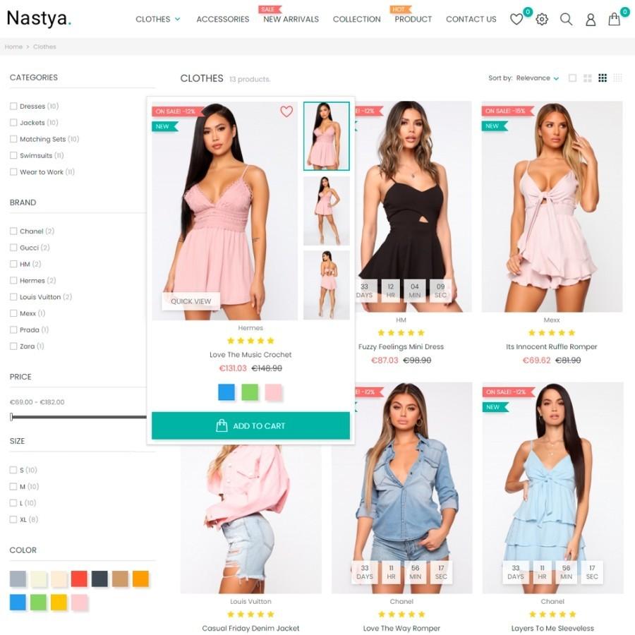 Nastya Fashion - Clothes, Shoes & Bags Prestashop Theme