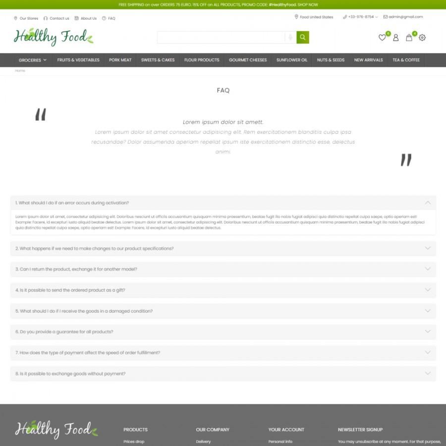 Healthy Food - Supermarket, Restaurant, Organic, Wine Prestashop Theme