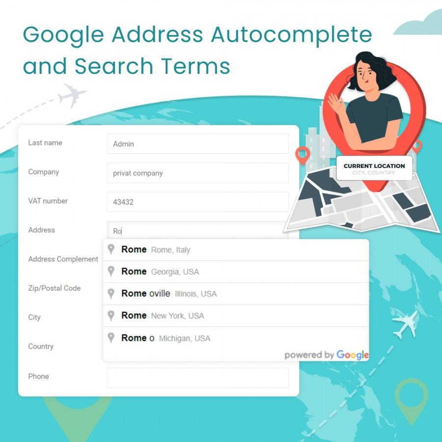 Google Address Autocomplete and Search Terms Prestashop Module