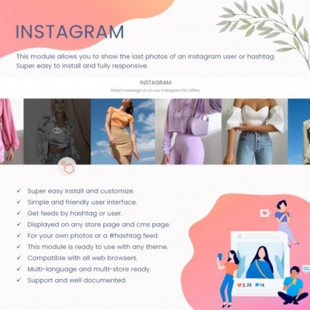 Instagram Carousel Feed Photos Hashtag & User Prestashop Module